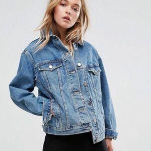 H&M distressed wash oversized denim jacket